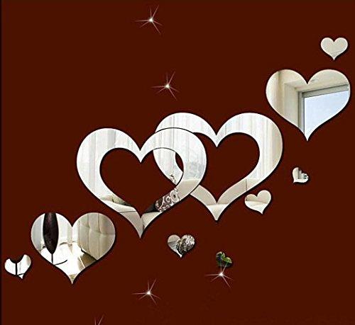 Wandaufkleber 3D DIY Lovely Silberne Spiegel Herzen,Hevoiok Modern Dekor Wohnkultur Wandtattoo Family Aufkleber Wall Decals Tapete für Schlafzimmer Wohnzimmer (Silber)