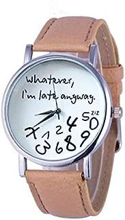 Elegant Watches for Women Fashion Luxury Lady Watch Alphabet Number Pattern Leather Strap Watch Female Belt Watch (Color : Beige)
