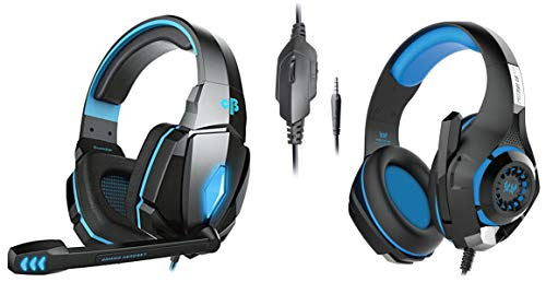 Cosmic Byte Over The Ear Headsets with Mic & LED - G4000 Edition (Blue)&Kotion Each GS410 Headphones with Mic and for PS4, Xbox One, Laptop, PC, iPhone and Android Phones(B