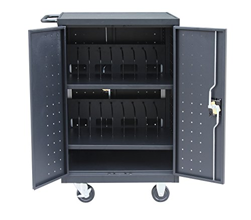 Pearington 20 Device Mobile Charging and Storage Cart for iPads, Chromebooks and Laptop Computers, Up To 17-Inch Screen Size, Surge Protection, Front & Back Access Locking Cabinet, Black