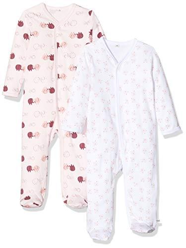 Pippi Unisex Baby 2er Pack Schlafanzug mit Aufdruck, Langarm mit Füßen Schlafstrampler, Rosa (Lightrose 501), (Herstellergröße:92)