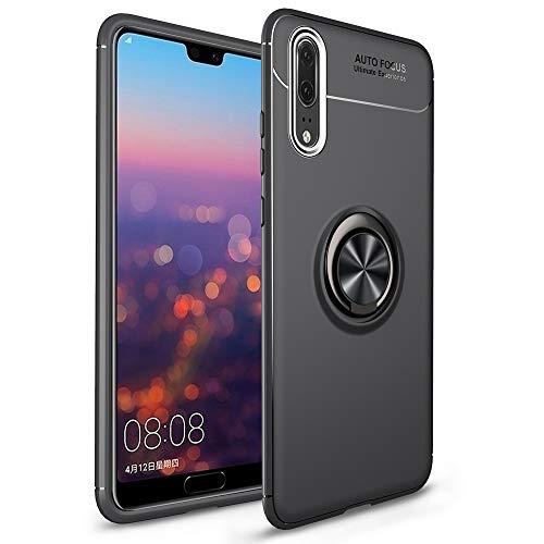 NALIA Coque avec Bague Compatible avec Huawei P20, Housse Protection Case avec 360° Ring Stand pour Support Voiture Magnetique, Fine Mince Telephone Portable Cover Etui Résistant Bumper - Noir
