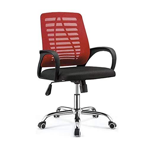JCCOZ-URG Sedia da ufficio, a casa Computer Mesh, casa Riunione del personale, mesh traspirante, ergonomico di sollevamento Attività sedia girevole Nero, Verde, Rosso JCCOZ-URG (Color : Red)