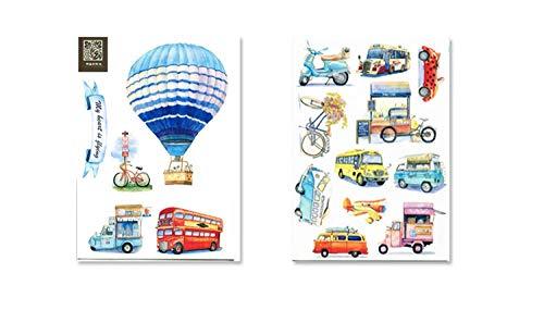 16 pegatinas creativas y lindas para transporte, autobús, globo aerostático, maletín, ordenador portátil
