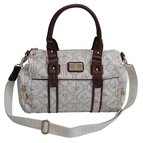 Damentasche von Giulia Pieralli - Damen Glamour Handtasche Handbag Tasche Henkeltasche Bowling Tasche Umhängetasche (Weiß-Braun) präsentiert von ZMOKA®