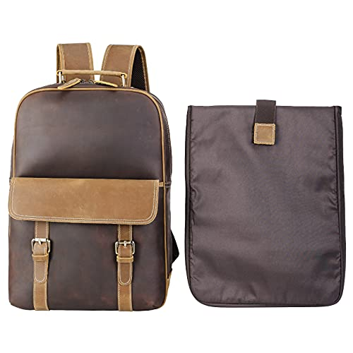 Leather Daypack Women Unisex Laptop Bag with Key Chain,Detachable...