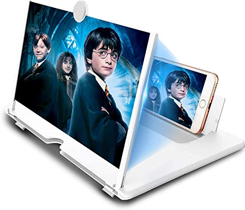 12' Phone Screen Magnifier,Mobile Phone Magnifier Projector Screen for Movies, Videos, and Gaming–Foldable Phone Stand with Screen Amplifier–Supports All Smartphones