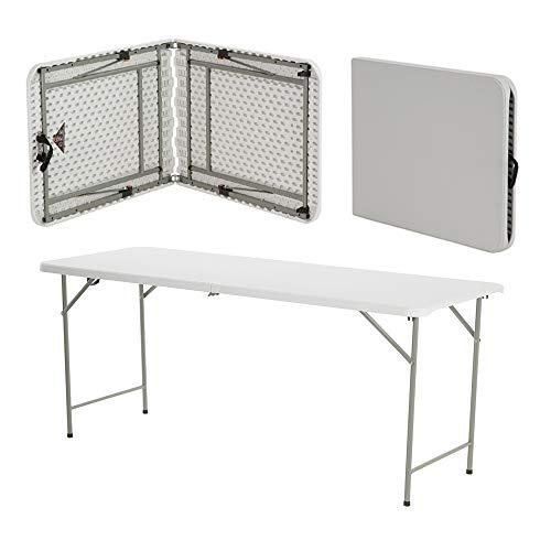 Tavolo pieghevole in plastica resistente e pieghevole, 6 m, per banchetti e feste in giardino, barbecue