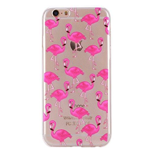 COZY HUT iPhone 6 hülle,iPhone 6S Case, Kratzfeste Plating TPU Silicone Case Schutzhülle Ultra Dünn Tasche für mit iPhone 6 6S (4,7 Zoll) Hülle Case Transparent - Flamingos