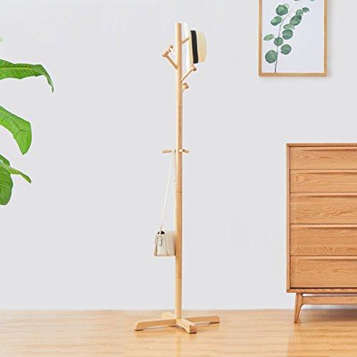 NYDZDM Percha de madera para el suelo del dormitorio, Perchero simple para colgar en el hogar (color: color de madera)