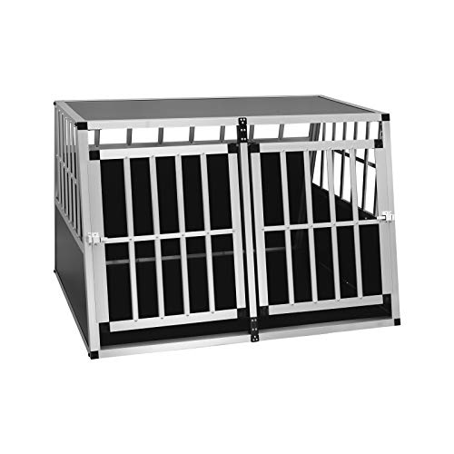 EUGAD Transportín de Aluminio para Perros Gatos Mascotas Jaula Transporte de Viaje para Mascotas Trapezoidal 2 Puerta Plata 104 x 91 x 69 cm 0004LL