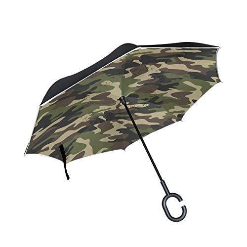 ISAOA großer Regenschirm, umgekehrter Regenschirm, Winddicht, doppellagige Konstruktion, Außenbereich, C-förmiger Griff, selbststehend, braun, Armee Camouflage Regenschirm