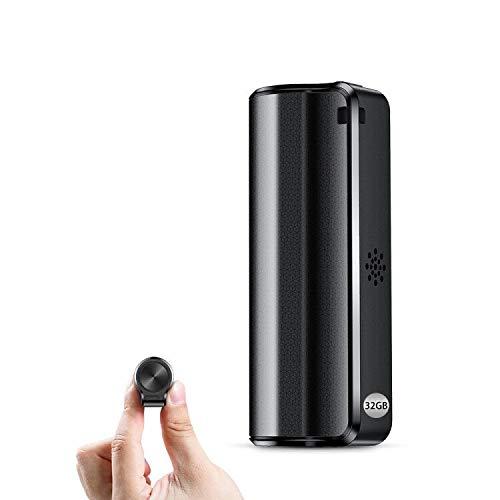 Grabadora de Voz 32GB, Mini Grabadora de Voz Espía con Activación por Voz- 350 Horas de Tiempo de Grabación, Grabadora a Prueba de Agua, Un Botón para Grabar/Guardar, Recargable