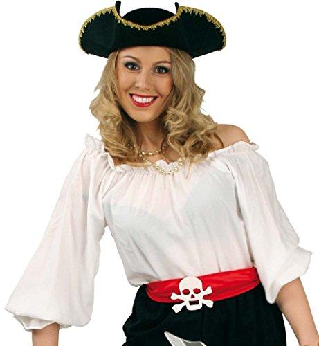 Fasching Karneval Kostüm Piraten-Bluse weiß, Pirat Piratenfrau Piratin: Größe: 46