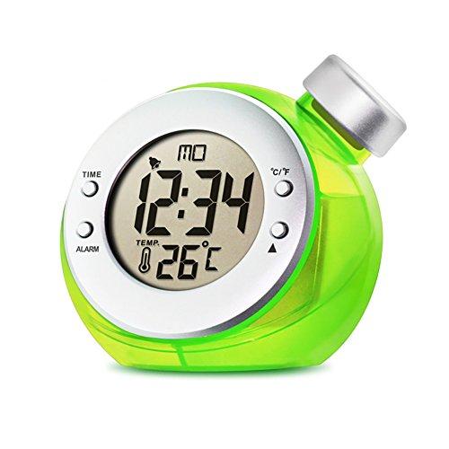LIGHTOP LED Eco-Friendly Clock Wasserbetriebene Uhr Tischuhr (24-Stunden Mode) Datum und Temperatur Anzeigen Thermo Hygrometer und Wetter Anzeige für Kinder Schlafzimmer Wohnzimmer Büro (Grün)