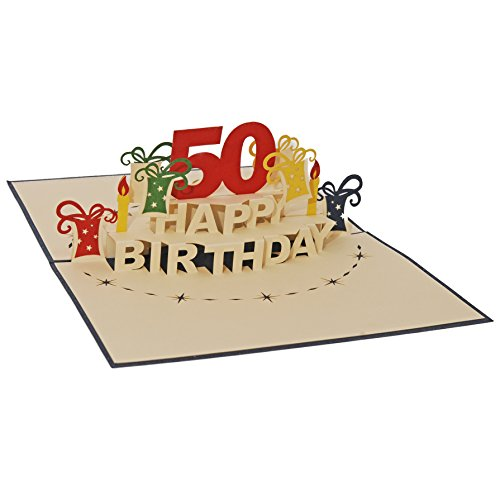 Favour Pop Up Greeting Card for 50th Birthday Round. An original 3D Pop Up Greeting Card, a hand crafted delicate work of art that is when opening. Blue envelope. TA50B Beauty