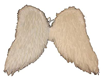 """23"""" White Fluffy Feather Accented Wings Costume Accessory"""