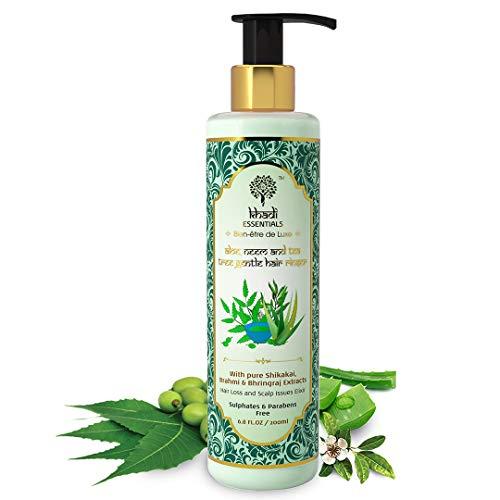 Khadi Essentials Methi Shampoo with Aloe Vera, Neem, Tulsi, Tea Tree Oil, For Hair Fall Control, Anti Dandruff, Hair Growth, 200ml SLS Paraben Free Cleanser