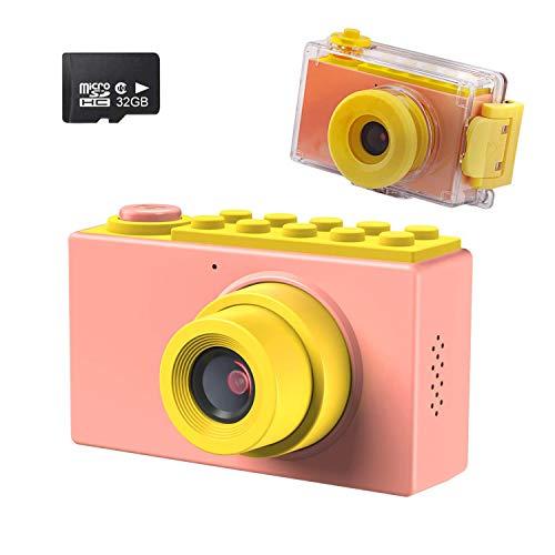 Kriogor Kamera Kinder, wasserdichte Kids Digitalkamera und Videokamera mit 4X Digitaler Zoom/ HD 1080/ 8 Megapixel/ 2 Zoll Bildschirm/ 32G TF Karte, Geschenke für Kinder (Rosa)