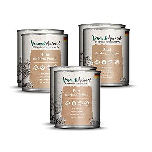 Venandi Animal Premium Nassfutter für Katzen, Probierpaket I, Huhn, Pute, Rind, 6 x 800 g, getreidefrei und naturbelassen, 4.8 kg