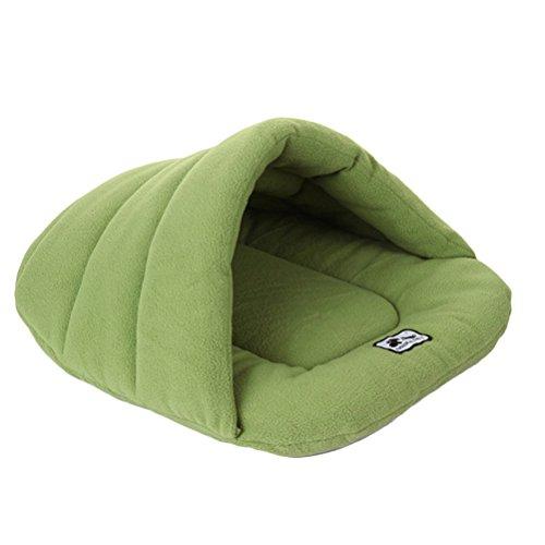 UEETEK Igloo - Caseta para perro o gato, cojín pequeño, para perro, suave, de peluche, algodón cálido, verde, M 48 x 58 cm