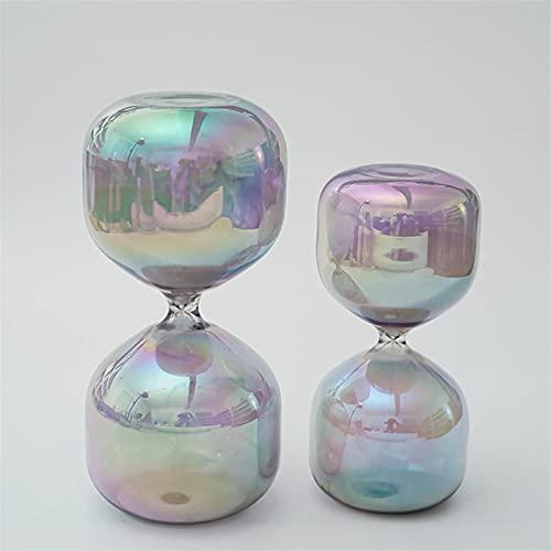 FHSMRING Reloj de arena de cristal con forma de cilindro de flores coloridas para el hogar, ropa suave, adornos de carácter (color: 30 minutos)