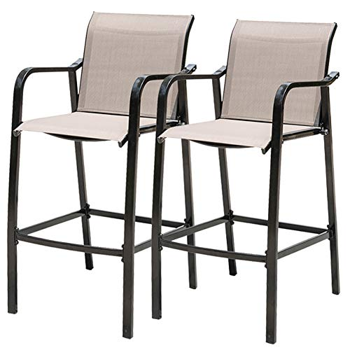 Sundale Outdoor Counter Height Bar Stool All Weather Patio Furniture with Quick-Dry Textilene Fabric, 2 PCS Set (Brown)