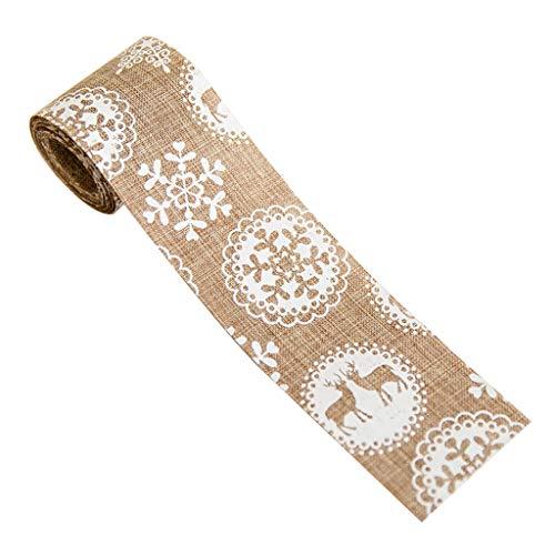 Bciou Christmas Elk/Christmas Tree/Snowflake Pattern Burlap Christma Tree Bow Weave
