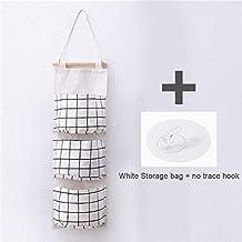 HXSD Cotton Line Hanging Organizer Bag Plaid Pattern 3 Grids Wall Sundry Makeup Rack Jewelry Storage Box Basket Home Decor...