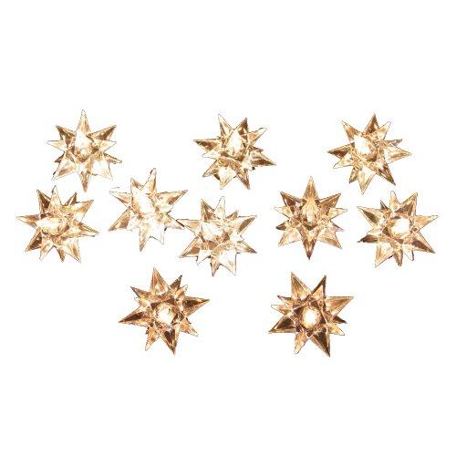 Kurt Adler 10-Light Diamond Star Light Set, Green/Clear