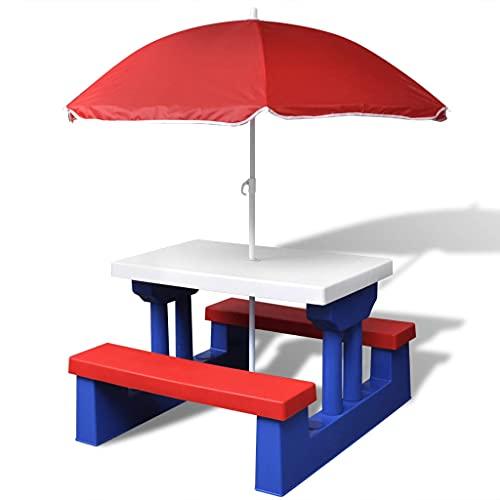 Kinder-Picknicktisch, Kindersitzgruppe mit Sonnenschirm Mehrfarbig Picknickset Tisch Bänke Sitzgruppe Kindermöbel Gartenmöbel Draußen