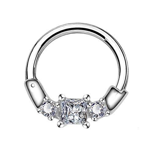 COCHARM Septum Piercing 16G 316L Stainless Steel Daith Earrings Three Clear CZ Rook Helix Septum Earring