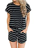 Hount Womens Summer Striped Rompers Casual Loose Short Sleeve Cotton Rompers and Jumpsuits (Black, XX-Large)