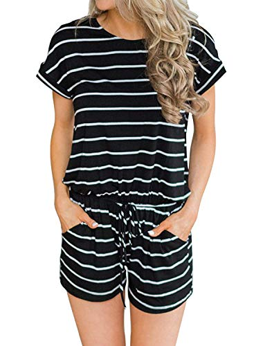 Hount Rompers for Women Summer Casual Short Sleeve Striped Loose Romper and Jumpsuit (Black, Medium)