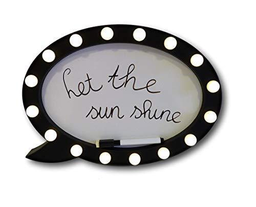 Sprechblase zum Beschriften Whiteboard Schreibtafel Memoboard Leuchtschild mit 16 LED beleuchtet ink. Stift (rund)