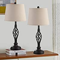 2-Pack Kakanuo Traditional Bedside Lamp with Spiral Cage