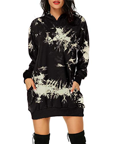 Auxo Women Hoodies Dress Tie-Dye Long Sleeve Oversized Tunic Sweatshirt Pullover02-Black 3XL