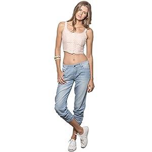 Women's Light Wash Denim Tencel 5-Pocket Jogger Pants