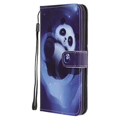 Funda para Samsung Galaxy Xcover 5, 3D Art a prueba de golpes, piel sintética suave, absorción de golpes, con función atril, ranura para tarjeta de identificación, cubierta protectora de panda