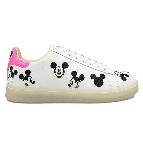 Moa Master of Arts MD418 Damenschuhe Disney Mickey Maus, sportlich, aus Leder, Weiß / Rosa / Silber, modisch, bequem, Weiß - Bianco - Größe: 38 EU