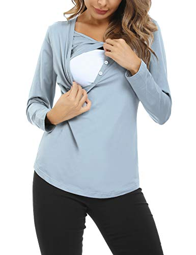 Hawiton Camisetas Lactancia Manga Larga Camiseta de Lactancia Ropa de Enfermería Algodon Camisa de...