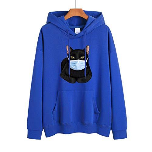 LXHcool Gatto Che Porta Una Maschera Coron_avirus Sono Sopravvissuto Cov_ID 19 con Cappuccio Pullover Felpa Superiore Sveglia (Color : Blue, Size : XXL)
