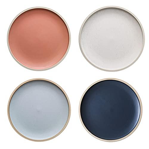 MDZF SWEET HOME Speiseteller, 4-er Set Teller aus Porzellan, Pastateller, Speiseteller Set, 21.2cm (8.3zoll)