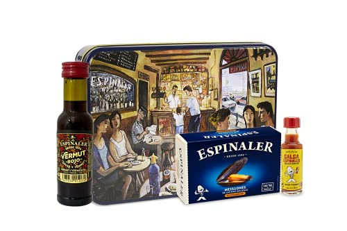 Espinaler cesta gourmet aperitivo | Pack regalo con vermut rojo, salsa espinaler y mejillones en caja regalo vintage