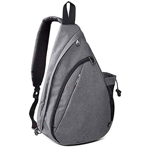 Sling Bag, Light-weight Chest Shoulder Backpack with Hidden Anti-Theft Pocket and Reversible Shoulder Strap(gray)