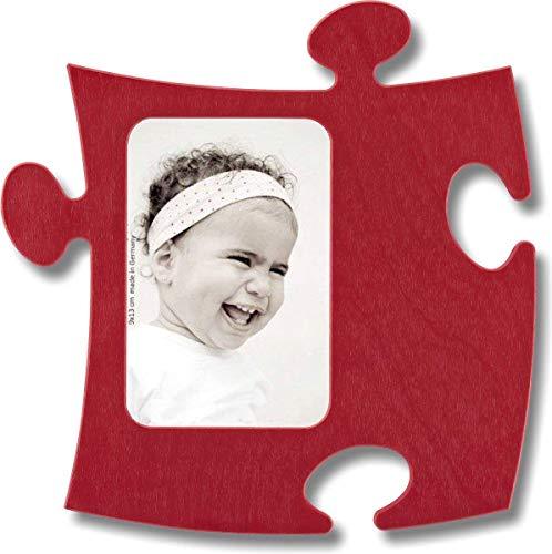 Unbekannt Rahmen Puzzle aus Holz–1Foto 9x 13cm–rot