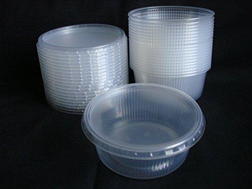 20 piezas 200 ml pequeño redondo desechables de plástico cubo de recipientes con tapa para alimentos.