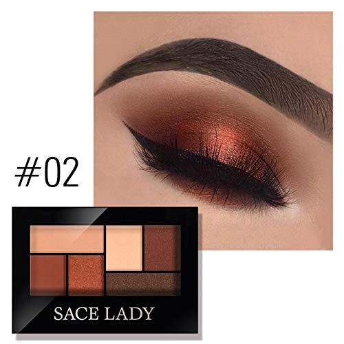JSZWGC Palette Fard à paupières Makeup 8 Couleurs Glitter Ombre à paupières avec Un Pinceau Make Up Long Lasting imperméable cosmétique Naturelle (Color : Eyeshadow 02)