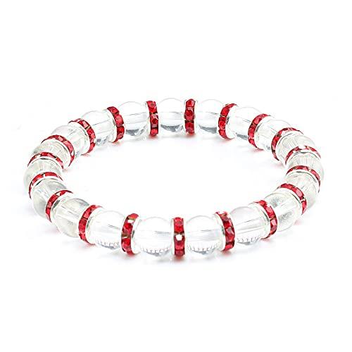 Pulsera redonda de cristal transparente con cuentas de piedra, pulsera multicolor de cuerda de diamantes de imitación, pulseras de Chakra, brazaletes, joyería para hombres y mujeres, regalo