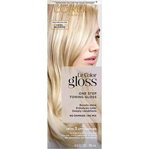 L'Oreal Paris One Step Toning Hair Gloss, In-Shower At Home Use, Boosts Shine, Enhances Color, Conditioning, Brass Neutralizing, No Damage, No Mix, Ammonia free, Paraben free